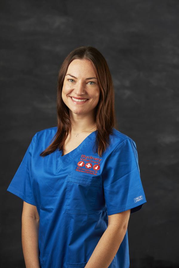 Gemma G from Sydney Vet Specialists Nursing team wearing blue nurse suit